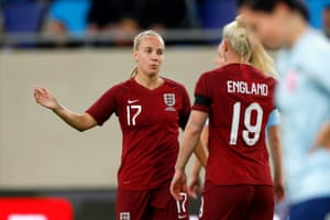 Beth Mead of England celebrates their side's sixth goal, an own goal by Jessica Berscheid of Luxembourg.