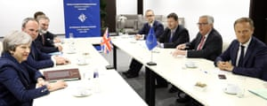 Theresa May meeting with Donald Tusk, president of the European council (right) and Jean-Claude Juncker, president of the European commission (second from right)