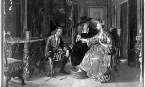 Black and white photo of a painting. A richly dressed late 17th early 18thC lady sits in a chair with one foot in a water bath. A physician, in black with broadbrimmed black hat looks at her and gently holds her arm. At her feet crouches the surgeon, smartly dressed in gilt and buttoned jacket, with a wig. He is holding what looks like bandages.