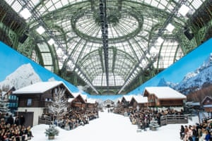 The grand Palais was transformed into an alpine snowscape.