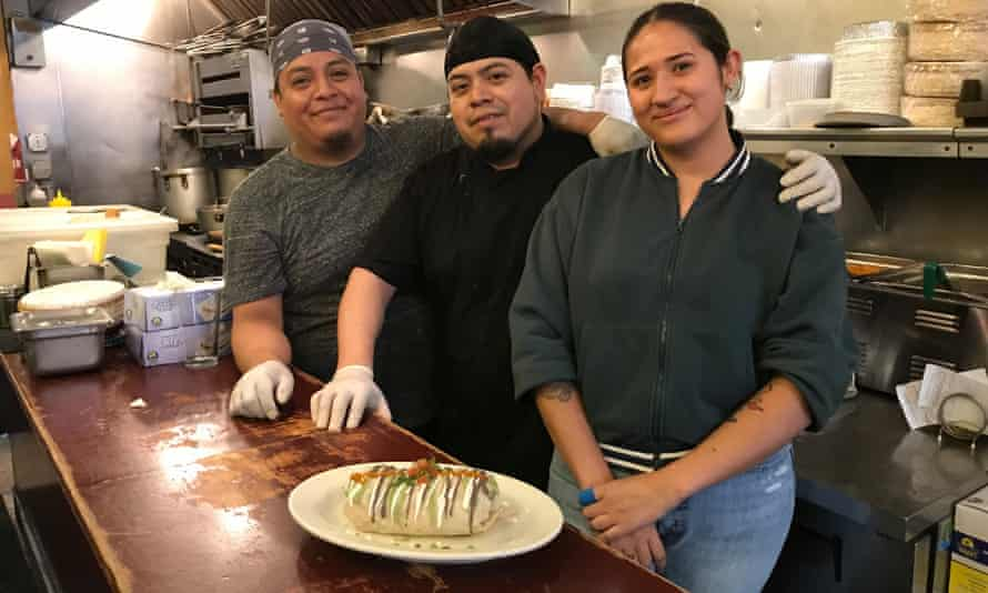 Ocasio-Cortez described Taqueria Tlaxcalli as 'incredible'. She usually orders a 'chicken burrito, not spicy', says Rosa Gomez, right.