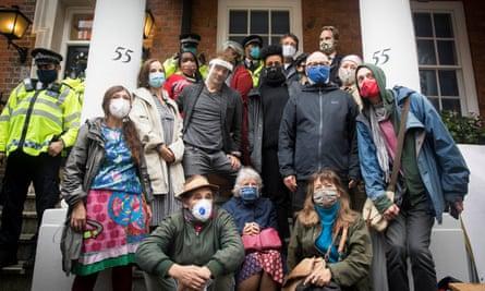 Writers Rebel outside 55 Tufton Street in London