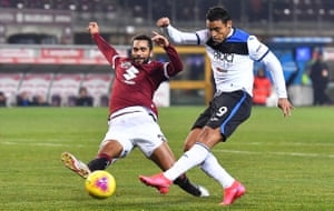 Atalanta's forward Luis Muriel scores his side's final goal in their 7-0 win at Torino in January.