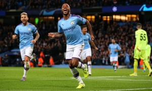 Raheem Sterling celebrates after scoring for Manchester City against Dinamo Zagreb this season.