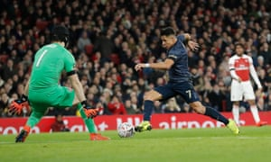 Alexis Sánchez rounds Petr Cech to score Manchester United's first goal in the FA Cup fourth round win over Arsenal.