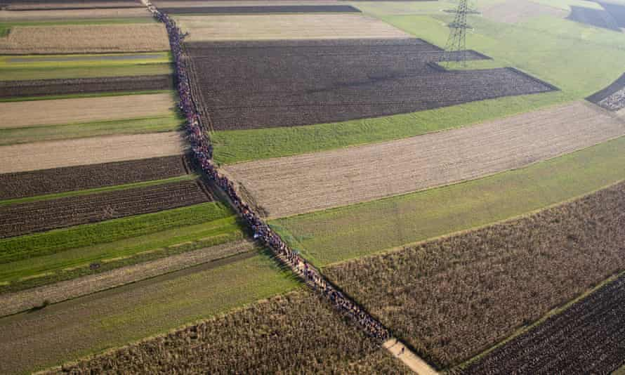 A column of migrants moves on a path between agricultural fields in Rigonce, Slovenia, on 25 October.