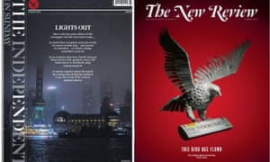The final issue: The front page of the main paper, left, and the magazine.