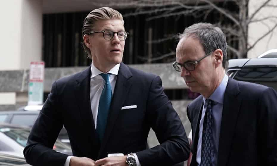 Attorney Alex van der Zwaan, left, who formerly worked for the Skadden Arps law firm, arrives at a US district courthouse in Washington DC for his sentencing on Tuesday.