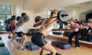 People working out with weights