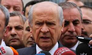 Devlet Bahceli, the leader of Nationalist Movement Party (MHP), the third largest political party in Turkey