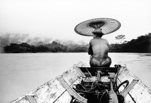"""Peace Corps 1964-66, Sarawak (East Malaysia). Travling down the river on a longboat. """"During my stint as Peace Corps Director in Sarawak (East Malaysia), I did not work as a professional photographer. However, I took snapshots during my travels throughout the country and the longboat on the country's many rivers was the only means of connecting between remote places in the ulu (remote jungle habitats)."""""""