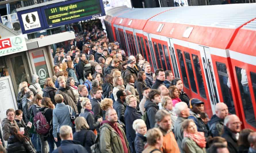 rail commuters in Hamburg.