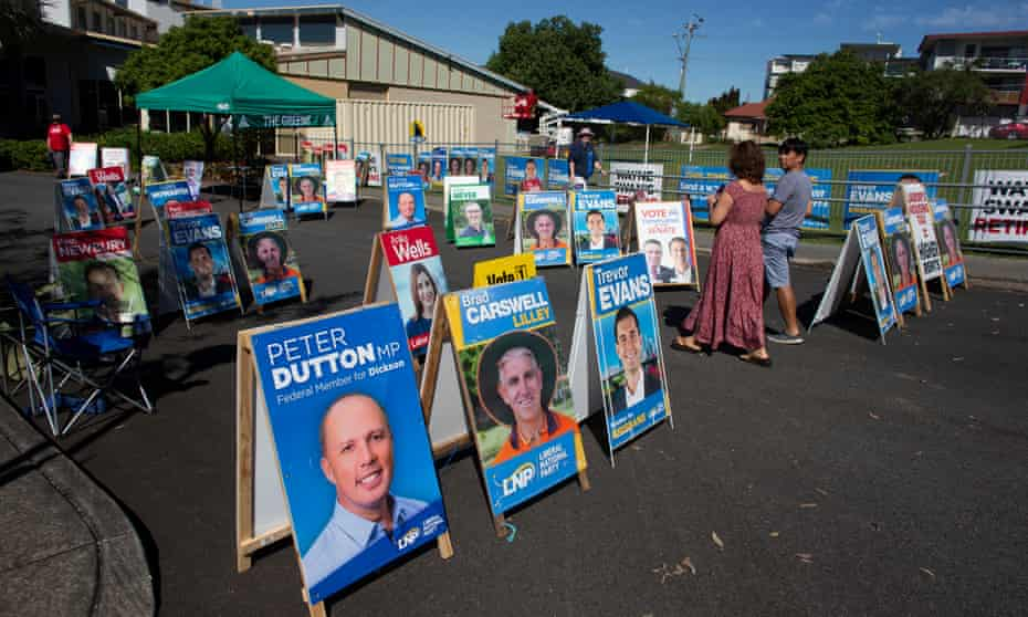 A busy pre-polling booth in the Queensland electorate of Lilley.