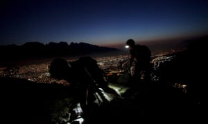 Monterrey, Mexico Hikers take a night-time tour of La Huasteca park