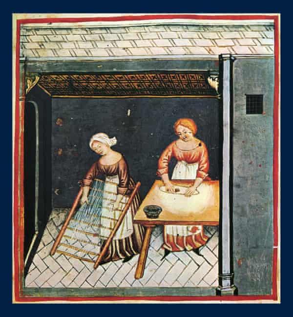 Making pasta; illustration from the 15th century edition of Tacuinum Sanitatis, a Latin translation of the Arabic work Taqwīm al-sihha by Ibn Butlan
