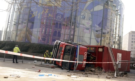 A crashed fire vehicle at Waterloo roundabout in London.