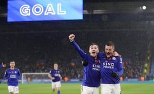 Leicester City's James Maddison celebrates scoring their second goal with Jamie Vardy, the other scorer, as the hosts won 2-0 against Arsenal.