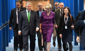 Theresa May arrives at the conference centre on the third day of the Conservative conferences