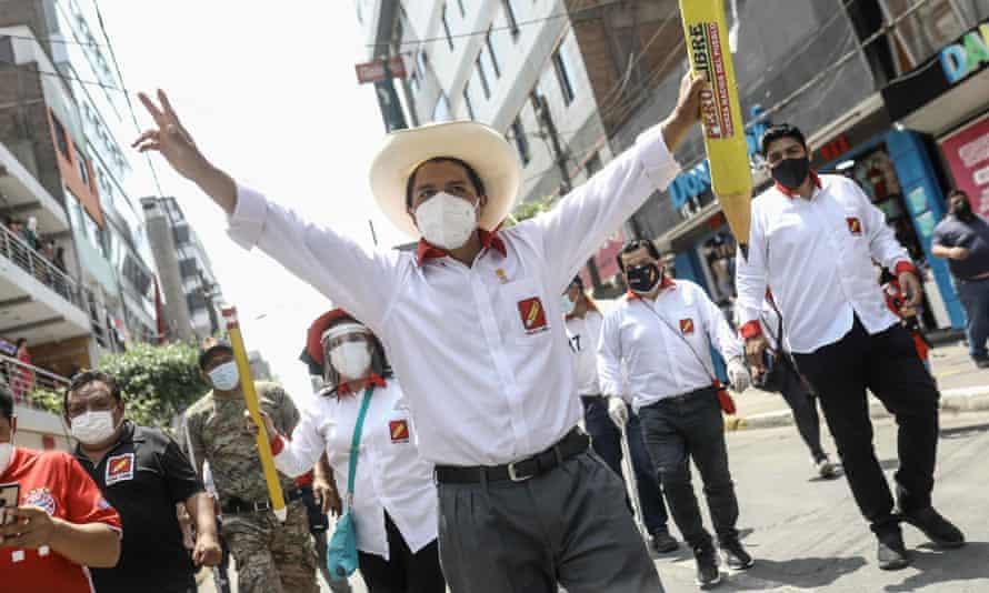 Pedro Castillo takes part in a campaign event in Lima, Peru, on 8 April.