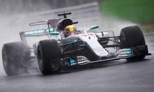 Lewis Hamilton drives through the Monza spray en route to pole position for the Italian F1 GP