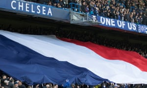 The French national flag is unfurled at Stamford Bridge before Chelsea play Norwich