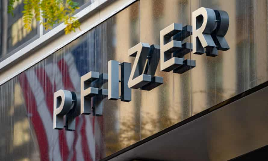 A sign outside Pfizer's HQ in New York