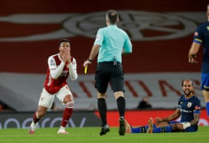Gabriel is shown a second yellow card and sent off.