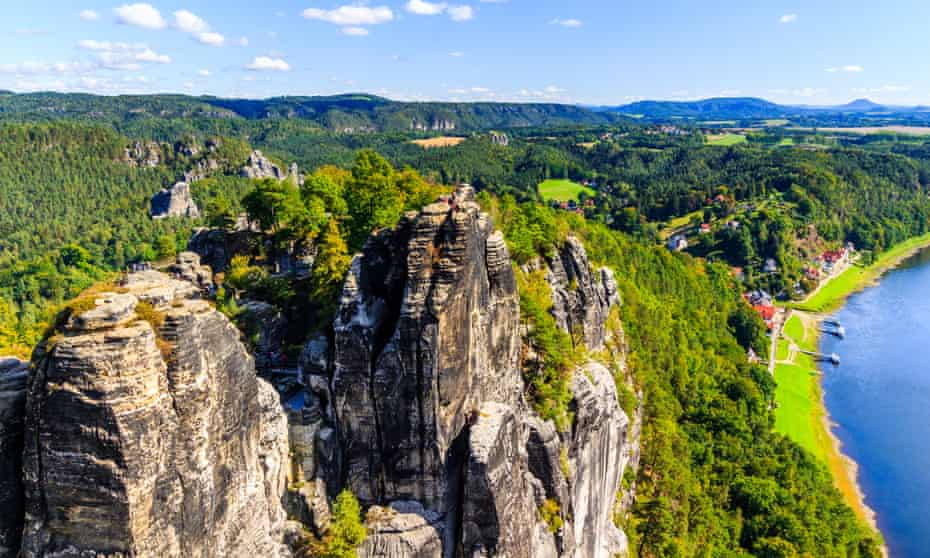 View from viewpoint of Bastei in Saxon Switzerland Germany