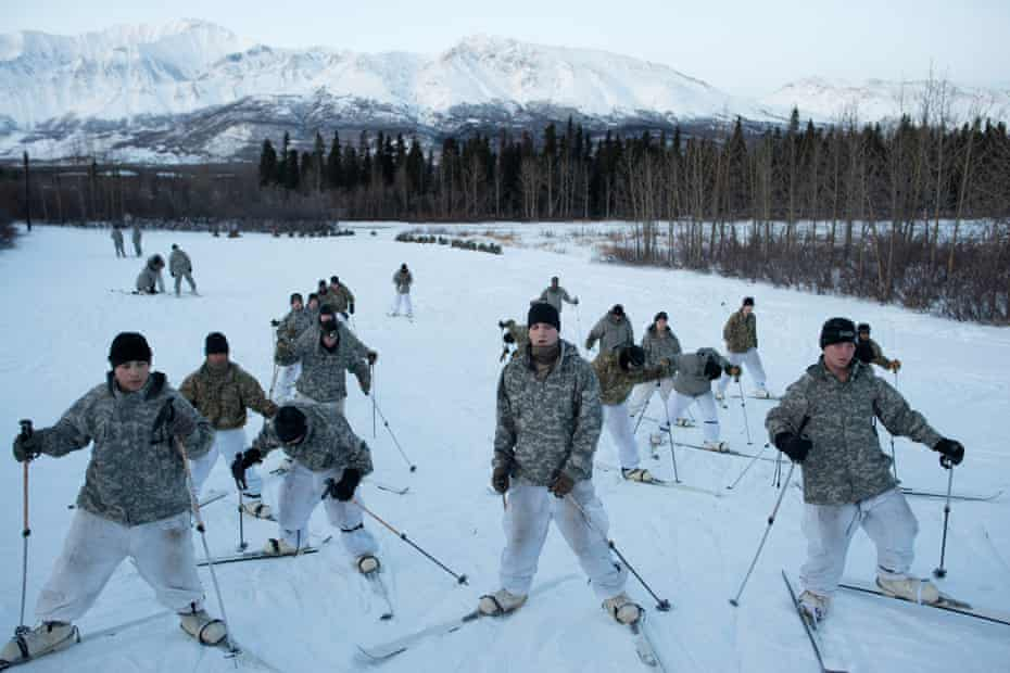 US soldiers from bases in Alaska train to ski while attending a course about using snowshoes, survival and logistics in cold weather conditions. They are just south of the Arctic circle, at the Northern Warfare Training Center, a United States Army Alaska installation in Black Rapids, Alaska. Part of their training is based on the events of the Winter War fought by Finland against the Soviet Union in 1939.