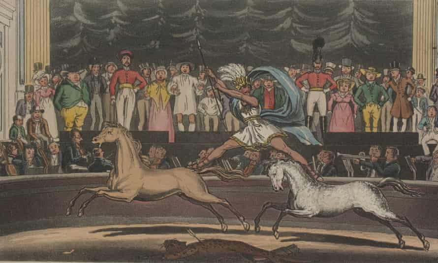 Drawing of early circus performance
