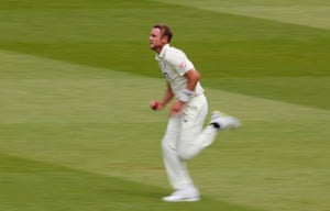 Stuart Broad gets his man and Latham goes for 36.