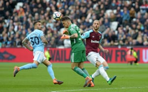 Manchester City's Ederson heads clear outside the penalty box from Marko Arnautovic of West Ham as City win 4-1 at the London Stadium.