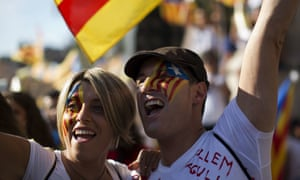 People take part in the demonstration calling for the independence of Catalonia.