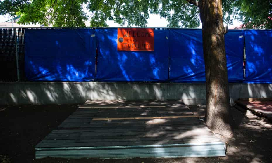 A stage in the Weiser, Idaho, backyard of Dolli Walsh, who is offering camping spaces for $75 a night.