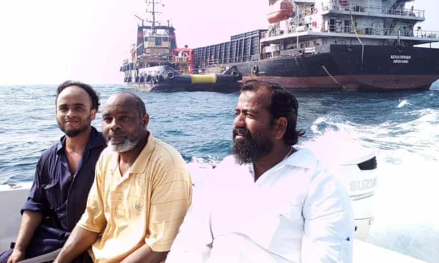 Captain Ayyappan Swaminathan with members of the MV Azraqmoiah cargo ship's crew