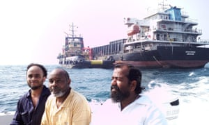 Captain Ayyappan Swaminathan, first right, with some of members of the MV Azraqmoiah cargo ship's crew.