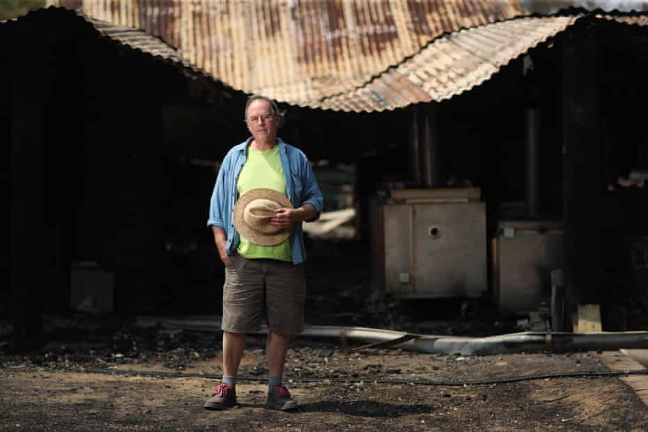 Balmoral potter Steve Harrison in front of his burned pottery shed