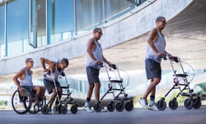 composite image of david mzee rising from a wheelchair to using a walking frame