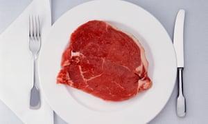Raw beef steak on plate