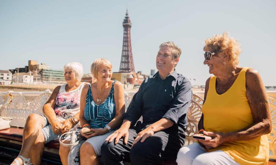 Keir Starmer meeting voters in Blackpool as part of his tour.