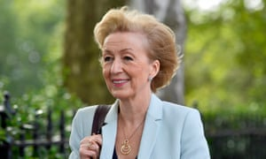 Andrea Leadsom leaves Millbank Studios after giving TV interviews on Thursday.