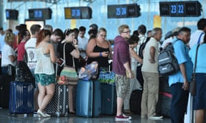 Tourists check in at Enfidha airport near to Sousse