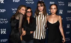 Real life: Pamela Adlon (glasses) in 2017 with her daughters, from left, Odessa, Rocky and Gideon.