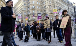 Protest against BBC interview with Marine Le Pen.