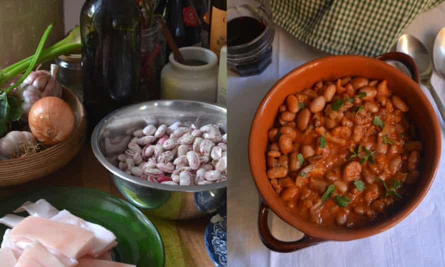 Rustic but tasty: Rachel Roddy's Roman-style beans with pork rind.
