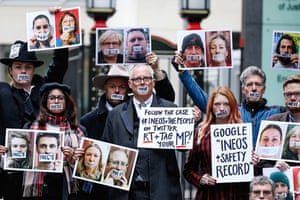 Joe Corré with protesters at the high court in London, England.