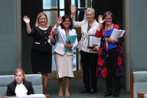 The crossbench team (L-R): Rebekha Sharkie, Julia Banks, Kerryn Phelps and Cathy McGowan.
