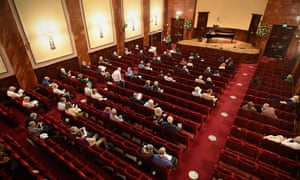 A socially-distanced audience at Wigmore Hall, London.