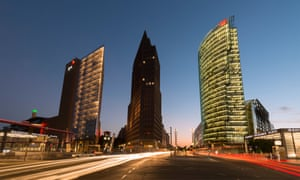 Night view of skyline of high rise buildings in Potsdamer Platz in Mitte Berlin.