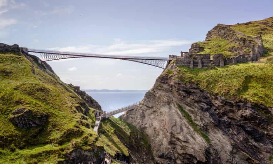 Disappearing into the landscape … the £5m Tintagel Castle bridge.